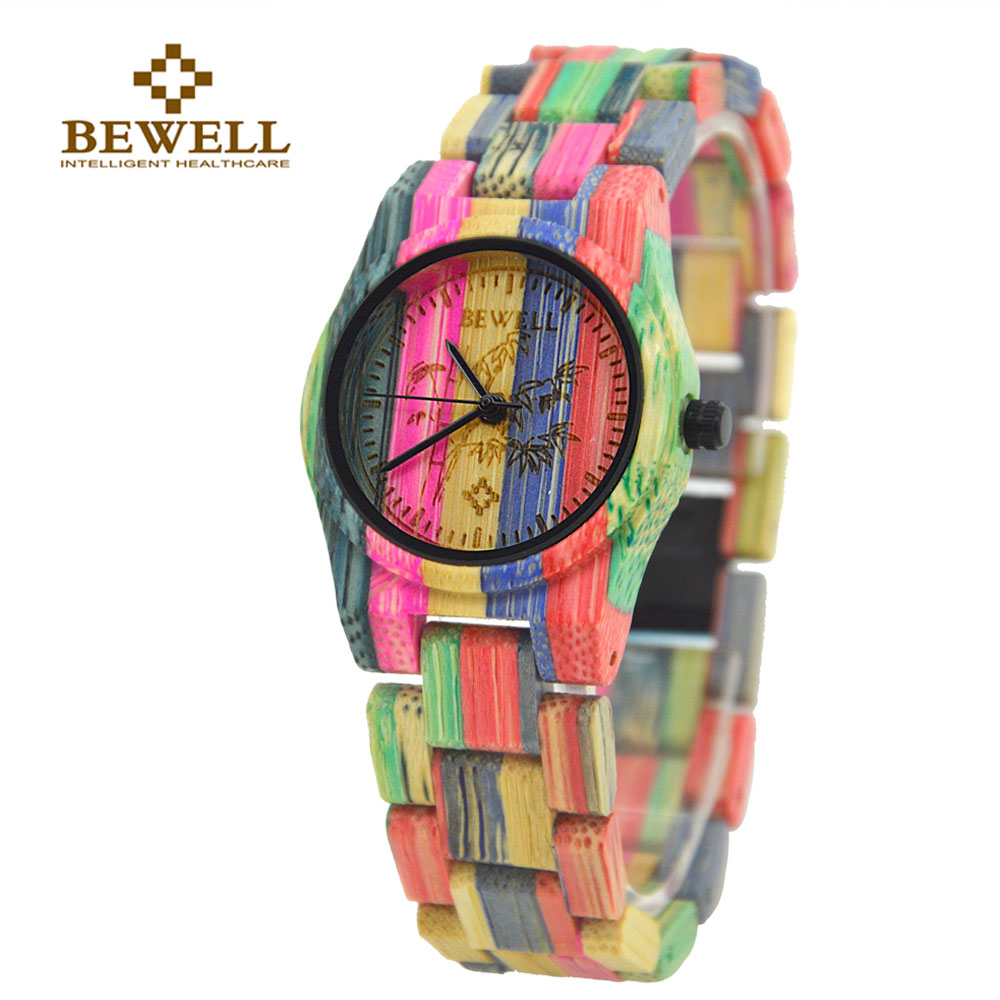 BEWELL W105DL Nature Handmade Colorful Bamboo Wood Watch Women Analog Quartz Fashion WristWatch with Mix Colors Free Shipping old antique bronze doctor who theme quartz pendant pocket watch with chain necklace free shipping