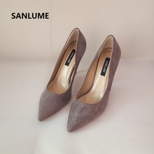 SANLUME Women fashion High heels Real Suede Pumps Lady Pointed Toe Black Dress shoes 10cm heels inside made sheepskin fashion sweet women 10cm high heels pumps female sexy pointed toe black red stiletto high heels lady pink green shoes ds a0295