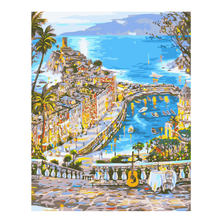 RIHE Seaside Town Painting By Numbers Scenery Diy Oil On Canvas Hand Painted Cuadros Decoracion Acrylic Paint Wall Art
