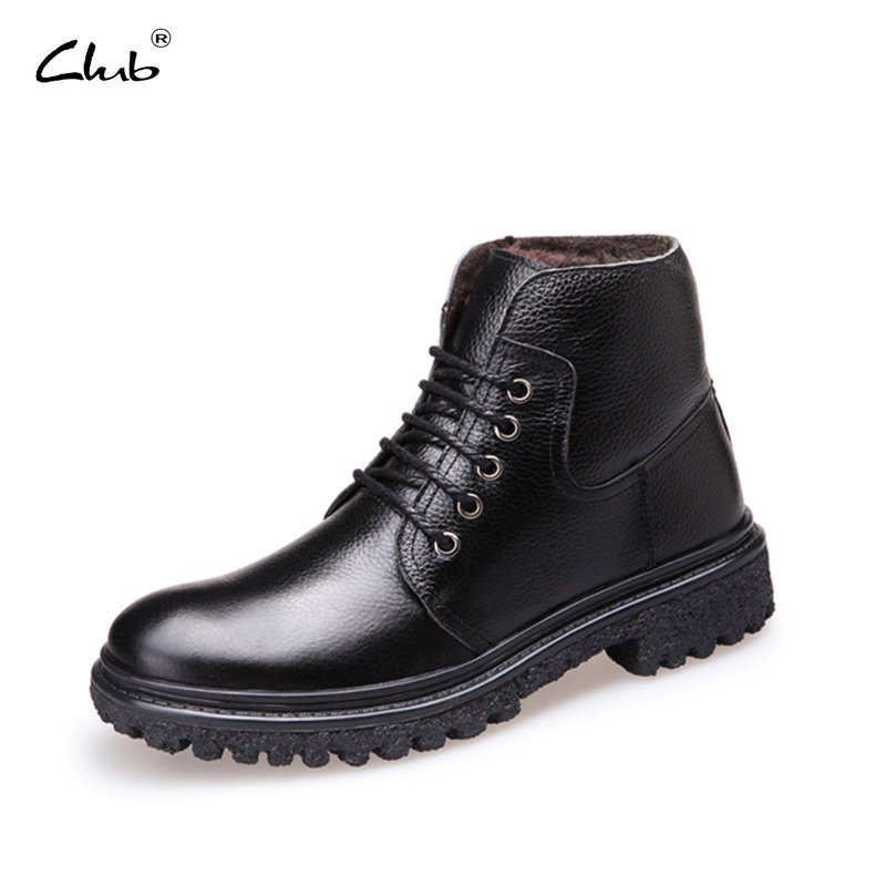 Club Genuine Leather Male Winter Boots Warm Plush Lace-up Ankle Boots Fashion Mens Boots Mens Winter Footwear Botas Masculina muhuisen winter men genuine leather shoes fashion casual plush warm boots lace up flats male snow boots fur inside comfort