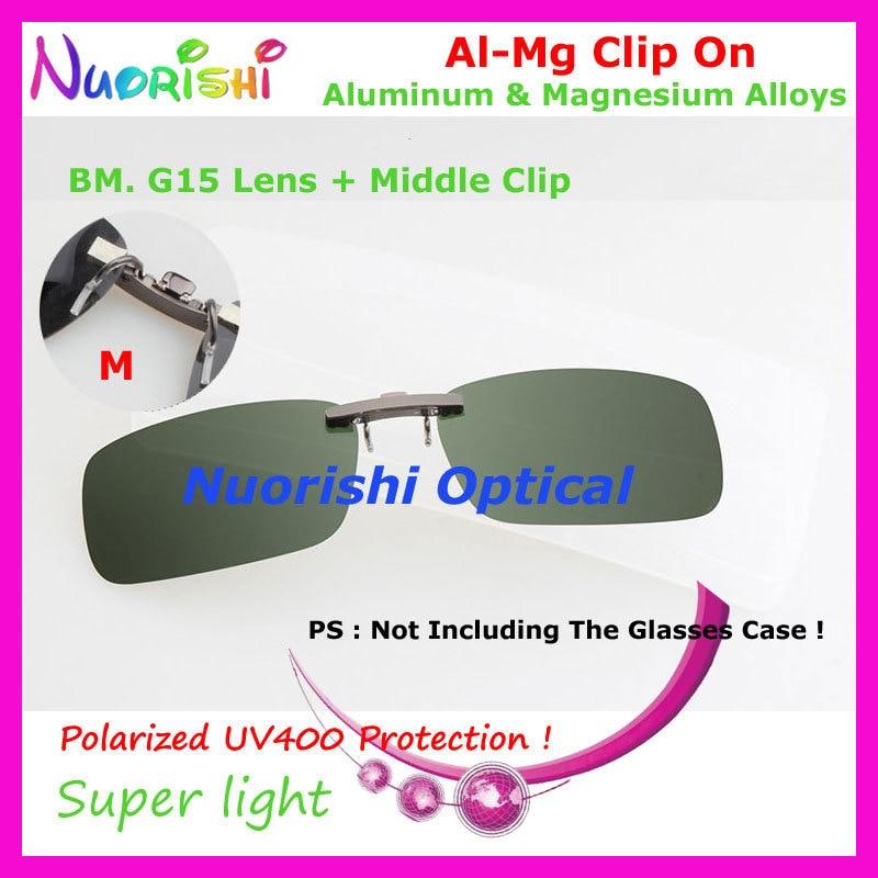 10 шт. сплава al-mg поляризованные Очки очков 7 цветов UV400 линзы клип на для малого и среднего Размеры зажимы cp07 - Цвет линз: BM G15 Lens