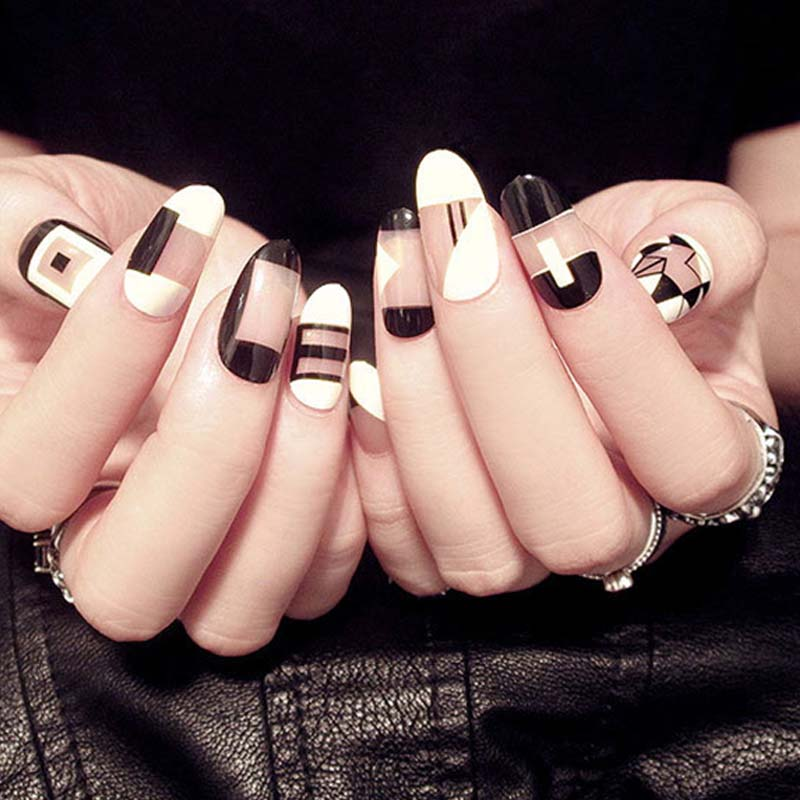 Diy Geometric Nail Art Design: Women Fashion Design Fake Nail Black White Geometric