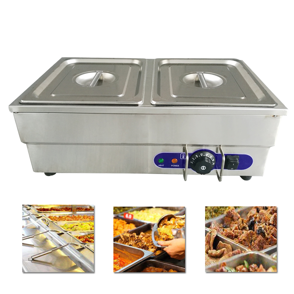 Hot Sale Bain Marie 2 Pans Electric Food Warmer Stainless Steel Countertop Commercial Soup Buffet Warmer