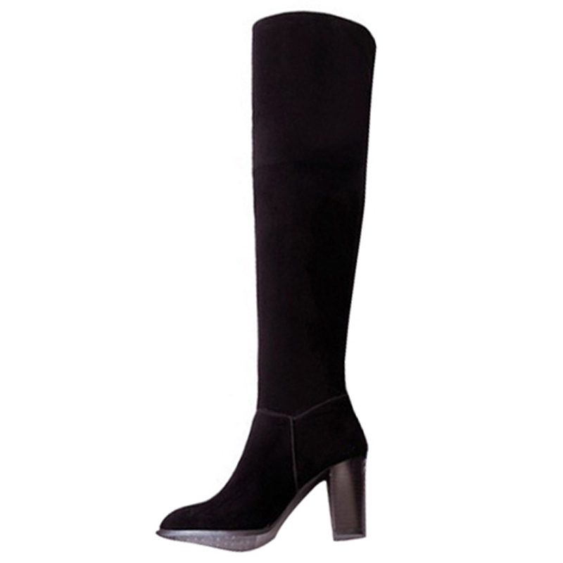 Hot Fashion Female winter boots women over the knee high thigh boots high heel suede boots feminine boots Black Red large sizes