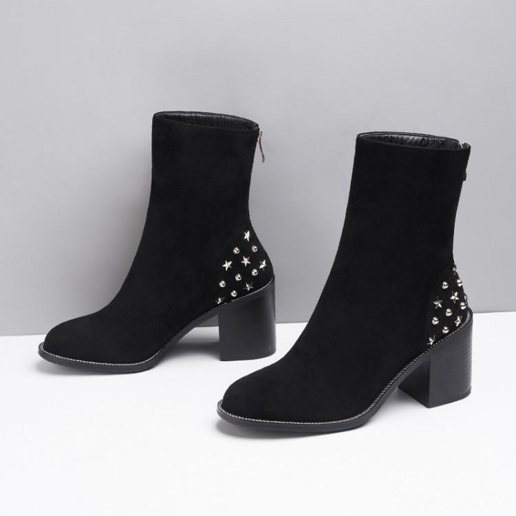 Zapatos La Tacón Moda Grueso A Metálica Botas Estrella gris