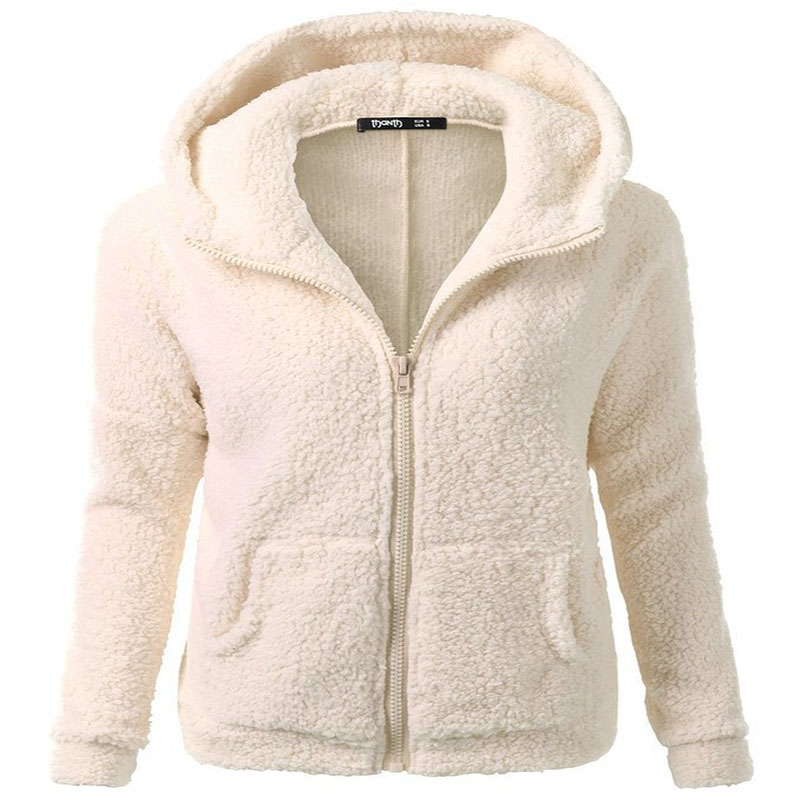 Autumn And Winter Hot Selling Women's Solid Color Long Sleeves Hooded Zipper Cardigan Hoodie Sweaters