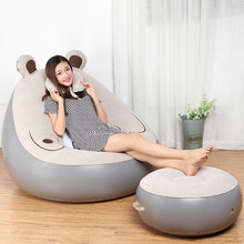 Cute Expression Inflatable Bean Bag Sofa Lounge Chair and Ottoman Air Couch Sillones Puff Lazy Sofa Set Living Room Furniture(China)