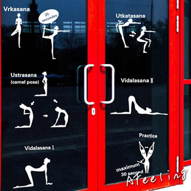 Yoga Exercise Club Aerobics Room Window Decorations Stickers Fitness Center Glass  Door Wall Sticker Ads Poster