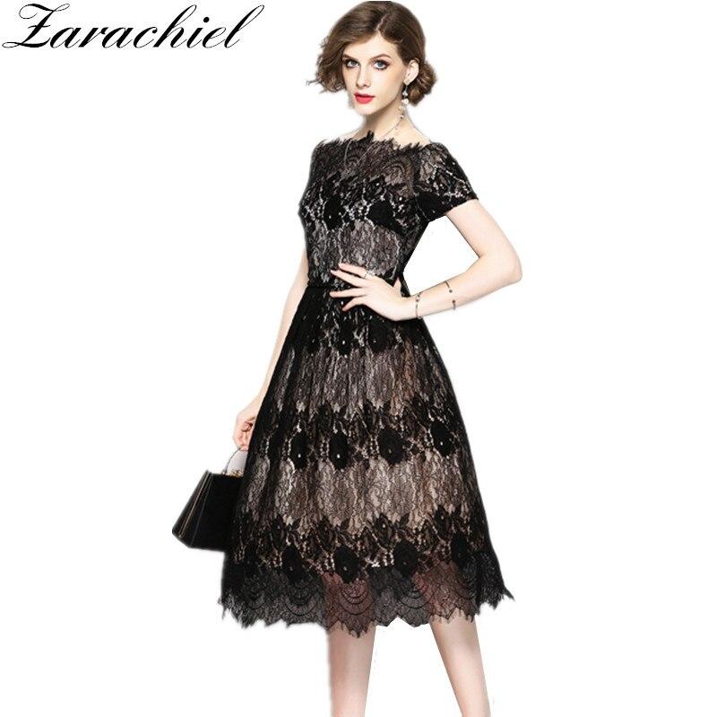 d848f5af18e05 Zarachiel Elegant Lace Dress Autumn Women Pink Flower Embroidered ...