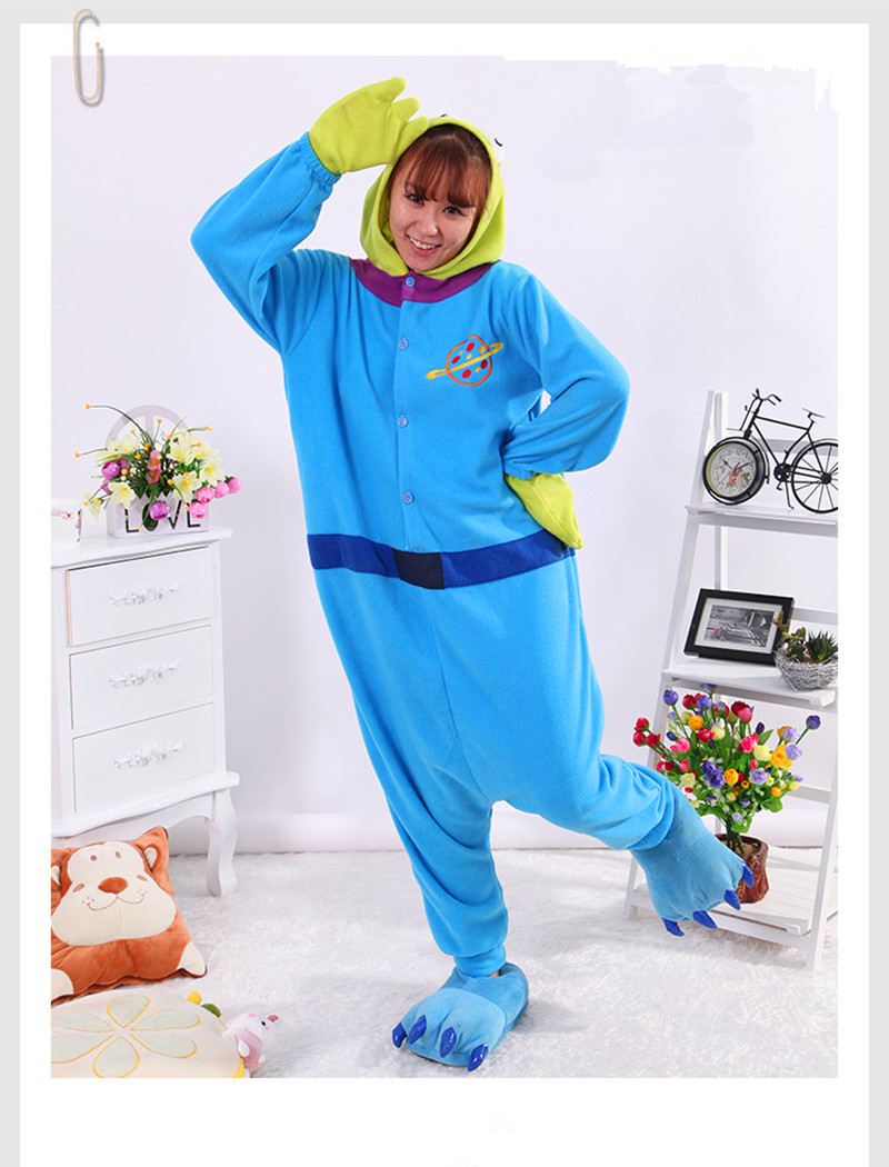 Autumn/winter animal cartoon conjoined pajama of the three eyes of a couple of womens home wear