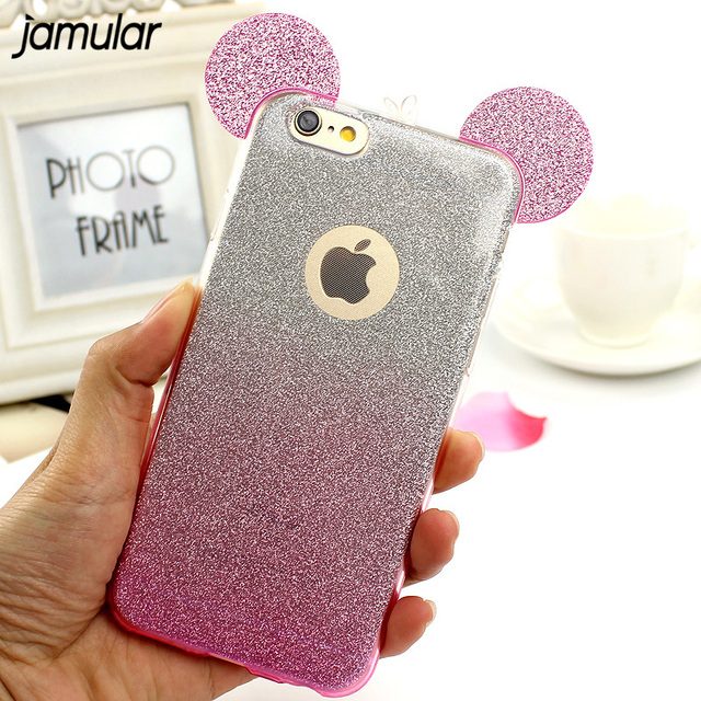 best authentic 0f042 e8a7a US $2.29 15% OFF|JAMULAR Mickey Mouse Crystal Glitter Soft Case For iPhone  6 6s Plus 5s SE Bling Phone Cover For iPhone 7 6s Plus Fundas Cases-in ...
