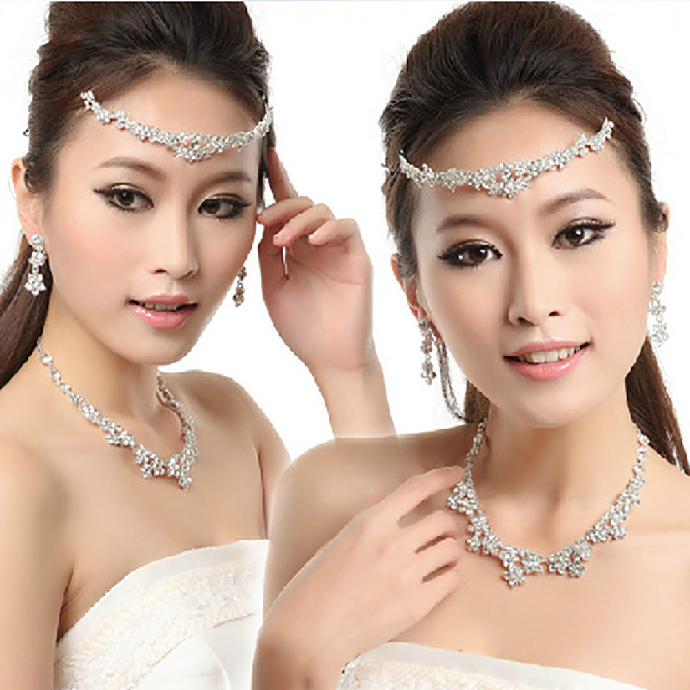 cheap wholesale fashion Elegant Rhinestone Bridal Earrings Necklace bridal jewellery set online Head Chain Tiara Women Jewelry Set walmart online black friday sale Jewelry Sets dh33971838