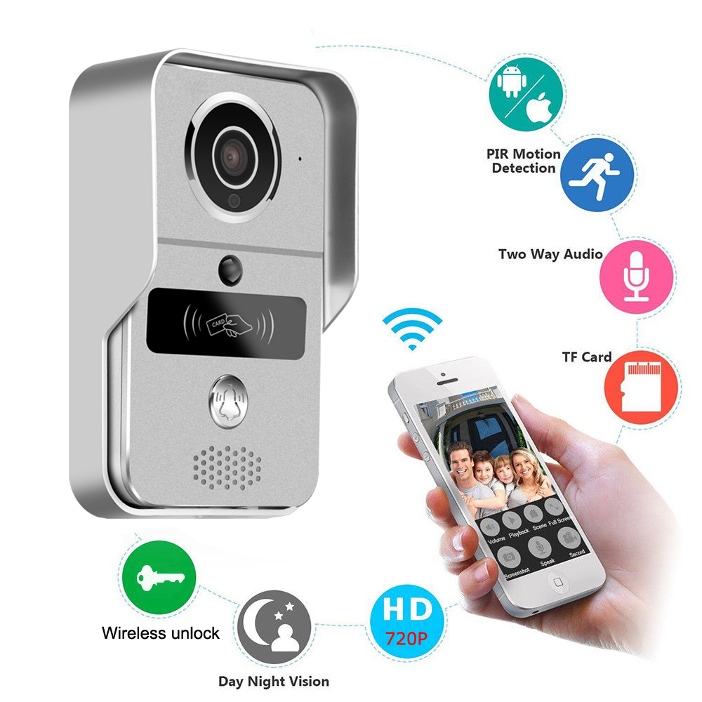 720P Wireless WiFi Video Doorbell Door Phone Intercom Camera PIR Motion Detection Alarm Remote unlock with Indoor Chime720P Wireless WiFi Video Doorbell Door Phone Intercom Camera PIR Motion Detection Alarm Remote unlock with Indoor Chime