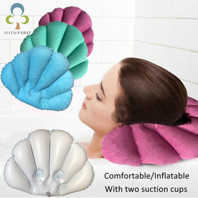 GYH-oreiller de salle de bain gonflable | Pour la maison, Spa confortable, tasses de bain gonflables, en forme de coquille, coussin de baignoire, accessoires de salle de bain