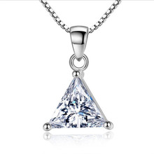 TJP Trendy Crystal Triangle Female Pendants Necklace Jewelry Fashion Women 925 Sterling Silver Lady Accessories Girl