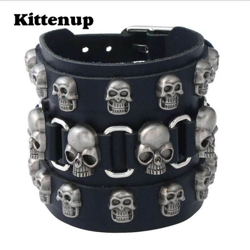 Kittenup Trendy Punk Gold Color Skull Mens Bracelets Hand Made Top Quality Black Brown Leather Skeleton Bracelet Men Jewelry