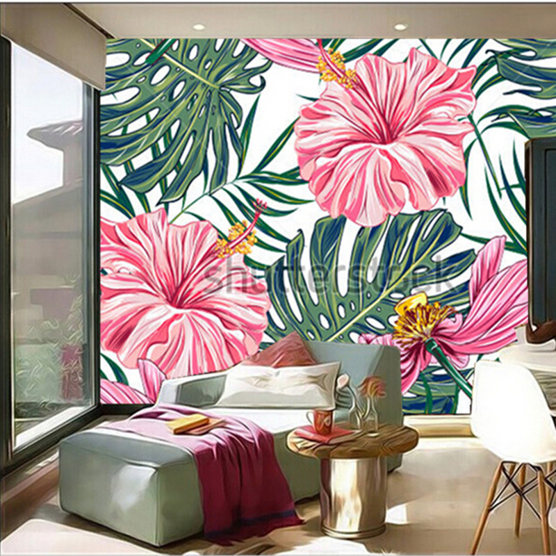 Custom 3D large mural,tropical flowers, palm leaves, hibiscus papel de parede ,living room TV wall bedroom wallpaper custom large 3d murals beautiful peach blue sky zenith mural ceiling papel de parede living room the bedroom wallpaper