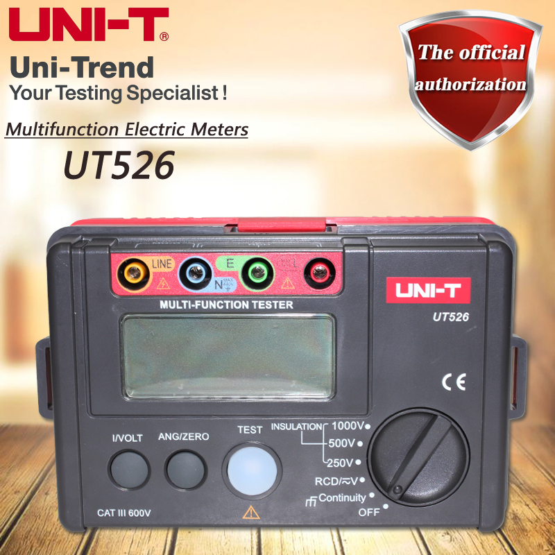 UNI-T UT526 Multifunction Electrical Tester, Insulation Resistance Tester RCD Test Voltage Measurement Low Resistance Test uni t ut595 electrical integrated tester digital multifunction electrical safety integrated test instrument