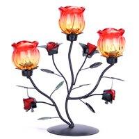 Romantyczna Kolacja Przy Świecach Ozdoby Wzrosła Świecznik Świecznik Żelaza Kreatywny Szkło Rose Flower Świeca Kubki X $