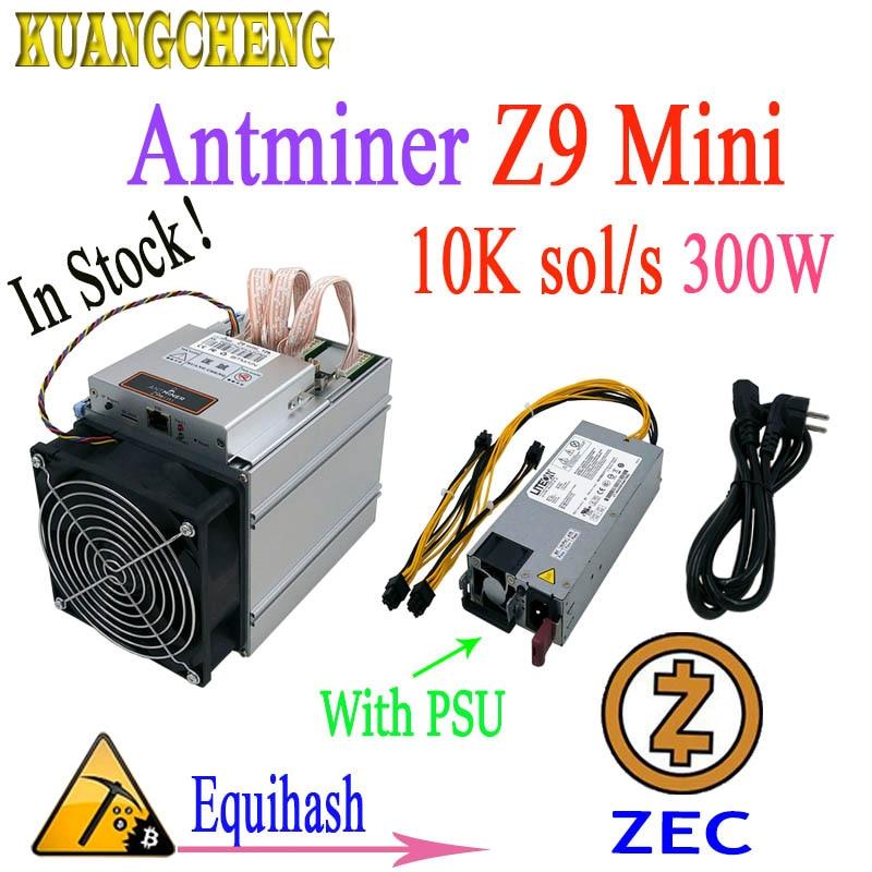 Mais novo Asic Mineiro Antminer ZEC Z9 Mini 10 k Sol/s 300 W Equihash Com 750 W PSU. Lucro é maior do que E3 G2 S9 L3 + D3 T9 +