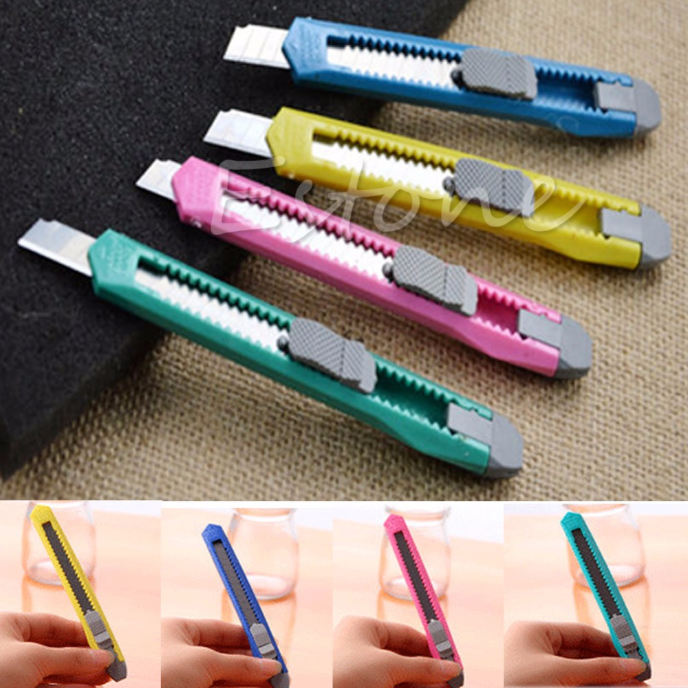 2Pcs Utility Knife Box Cutter Snap Off Retractable Razor Blade Knife Tool School Office Cutting Supplies S/L Size C26