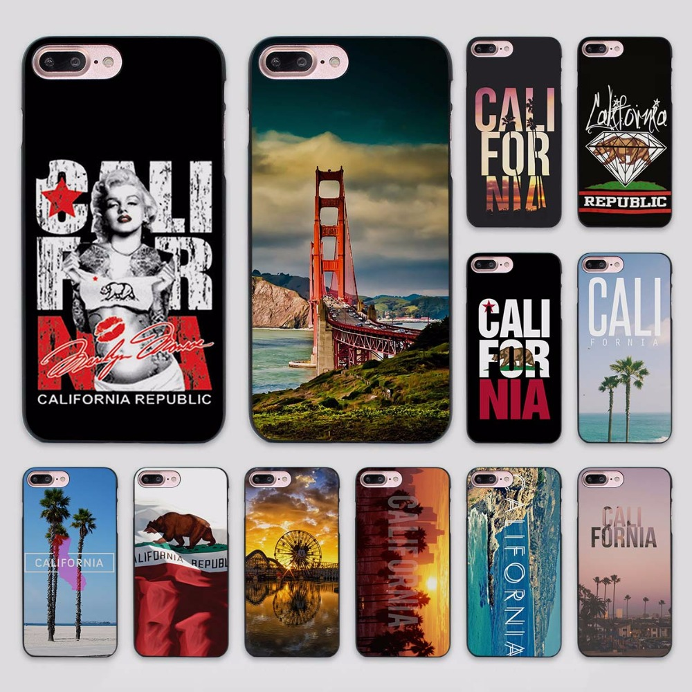 California Golden Gate design hard black Case Cover for Apple iPhone 7 6 6s Plus SE 5 5s 5c 4 4s ...