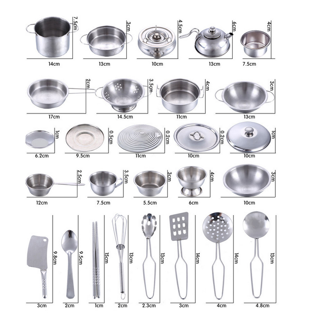 25 Pcs Set Kids Play House Kitchen Toys Cookware Cooking Utensils Pots Pans Gift