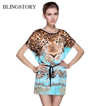4a77df454e Blingstory europea de mujer de verano de seda de hielo tigre de impresión  Batwing manga playa suelto vestido vestidos cortos Brasil WY301