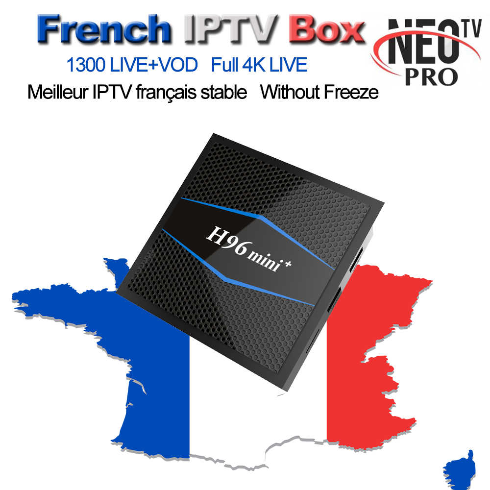 French NEOPRO TV QHDTV H96 Mini+ Plus Android 7.1 Smart TV Box 2G/16G With 1300+ Arabic Belgium Morocco IPTV M3U VOD Set top Box