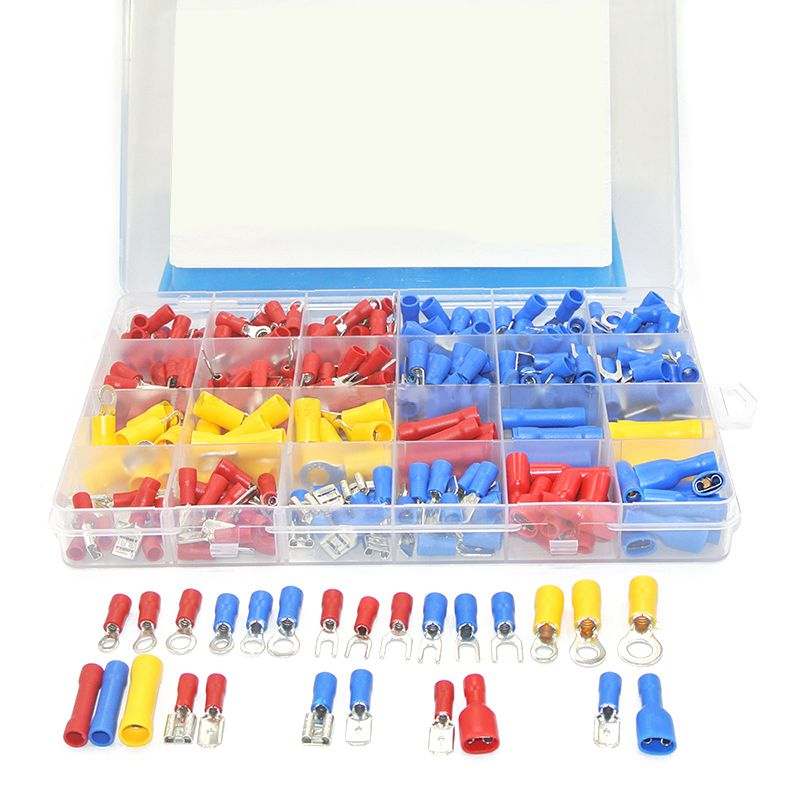373Pcs 24value Assorted Insulated Electrical Wire Terminals Crimp Connector Spade Butt Ring Fork Set #4 to 1/4 inch yt 480pcs insulated crimp terminals seal butt electrical wire cable spade ring fork crimping connector set with storage box