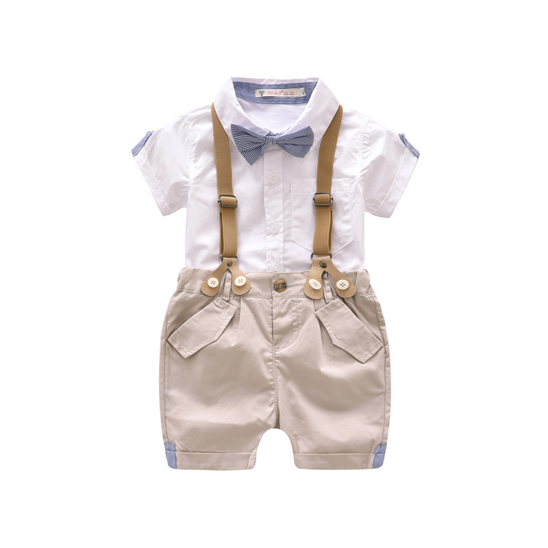 Summer Baby Boy Gentleman Clothes Set Infant Short Tshirt+Suspender Clothing Sets Toddler Formal Wedding Party Costume Suit 2pcs gentleman baby boy clothes black coat striped rompers clothing set button necktie suit newborn wedding suits cl0008