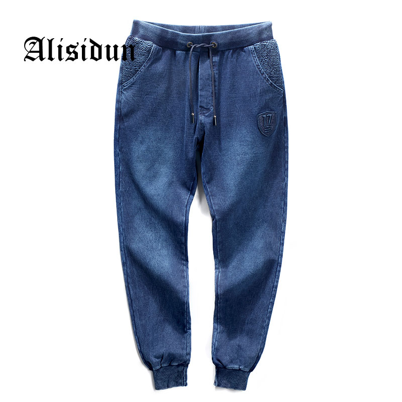 2018 New Fashion Men Jeans High Quality Elastic Pleated Pants Vintage Casual Loose Hip Hop Jeans Male Brand Cloth Big Size P1803 стоимость