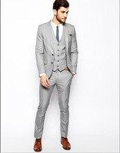 2019 Grey Mens Business Wedding Suits Men Custom Made Slim Fit Fashion High Quality Jacket Vest Pants
