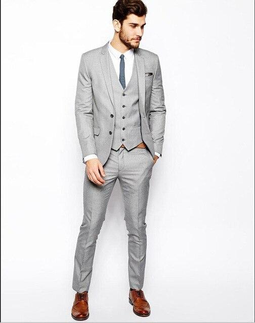 2019 gris hommes d'affaires costumes de mariage hommes sur mesure Slim Fit mode costumes de mariage de haute qualité costumes veste gilet pantalon