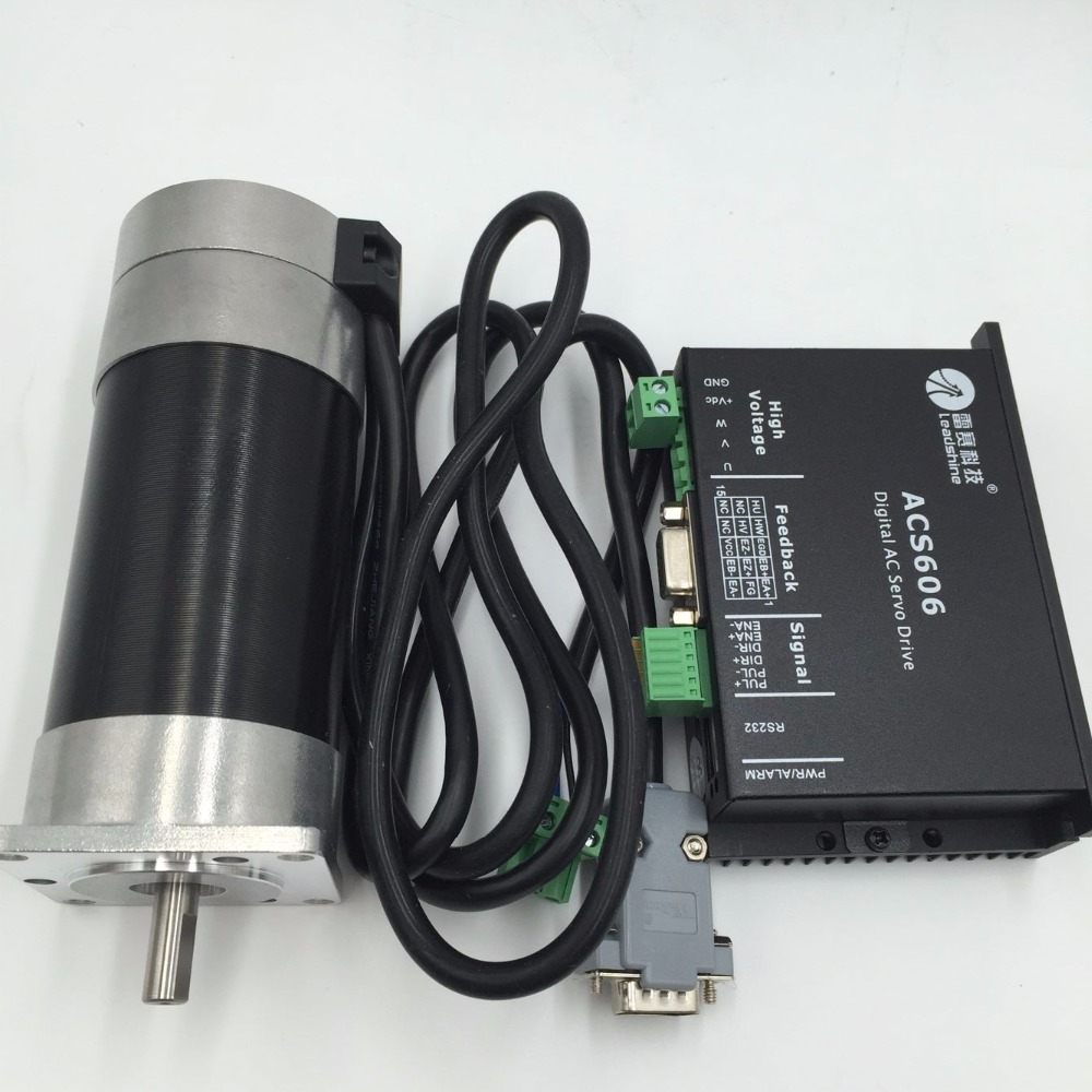 Leadshine 90W DC Brushless 36V Servo Motor Driver Kit BLM57090-1000+ACS606 57mm 4000ppr for CNC Router Engraving new cnc servo system leadshine servo drive acs606 work 36 60 vdc and a brushless servo motor blm57180 1000 encoder is1000 lines