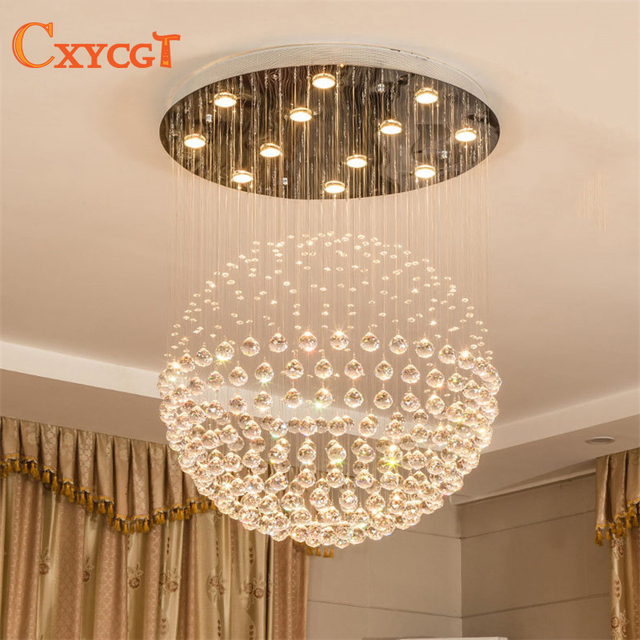 Modern Staircase Led Crystal Chandeliers Lighting Fixture