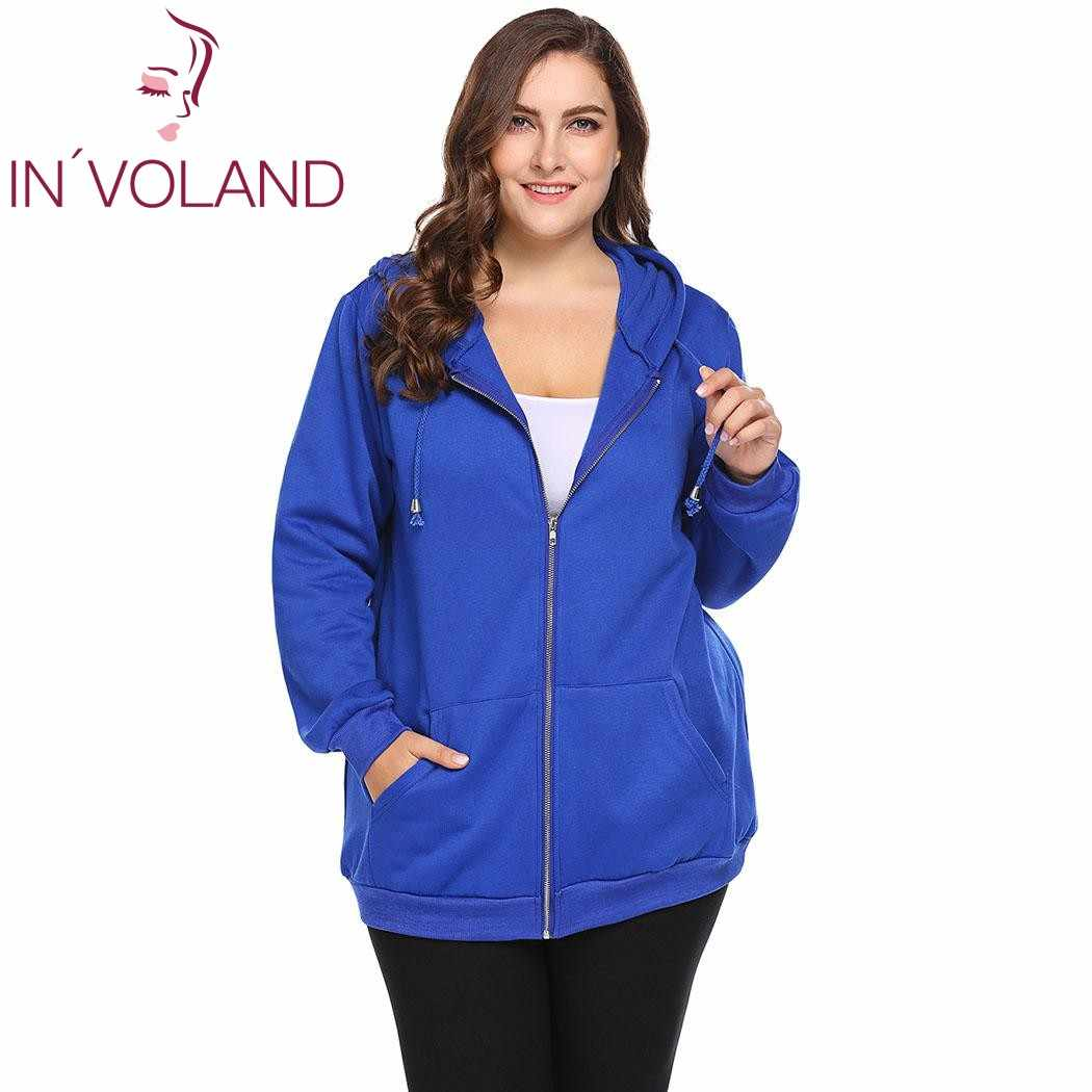 55f8cacb2c1 IN VOLAND Plus Size Women Hoodie Coat Jacket Autumn Spring Solid Long  Sleeve Warm Fleece