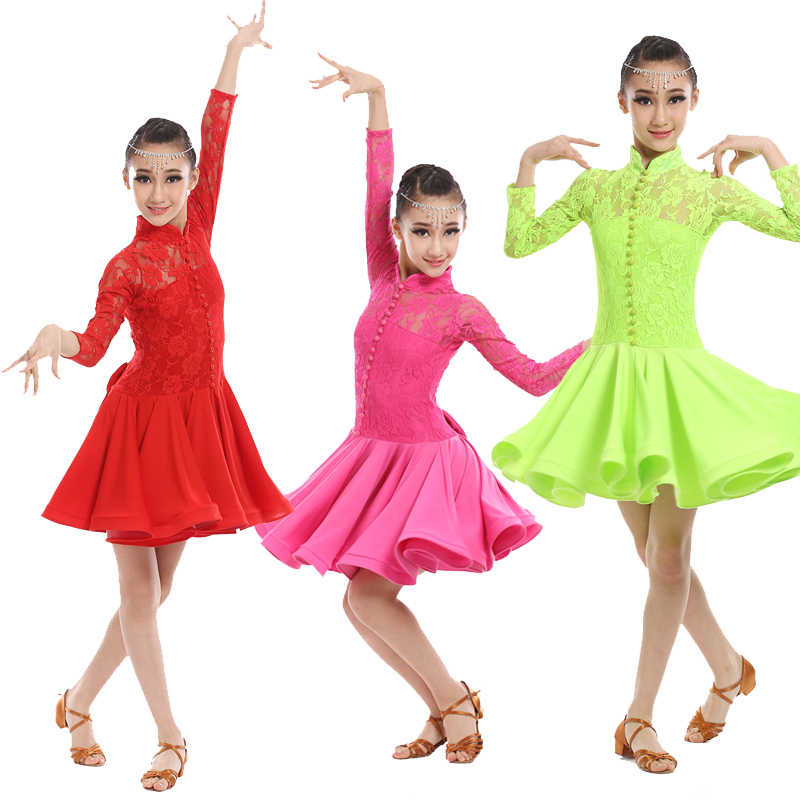 Red Lace Girls Ballroom Latin Dance dress Kids Party Performance Costumes competition skating dresses ballroom Dress girls kids black latin dance dress sequin girls kids ballroom dresses kids costumes dance practice dress competition yl362