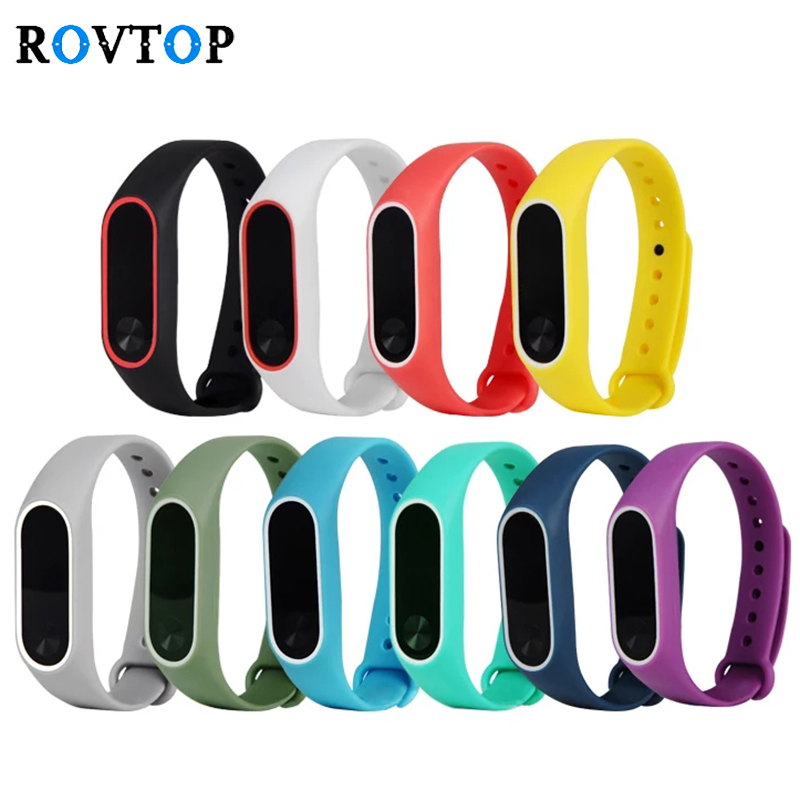 Rovtop Fashion Bracelets For Xiaomi Mi Band 2 Sport Watch Strap Silicone Wrist Strap For Xiaomi MiBand2 Bracelet Wriststrap Z2(China)
