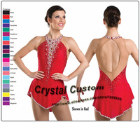 Red Custom Figure Skating Dresses With Spandex New Brand Vogue Figure Skating Competition Dress Customized DR3007