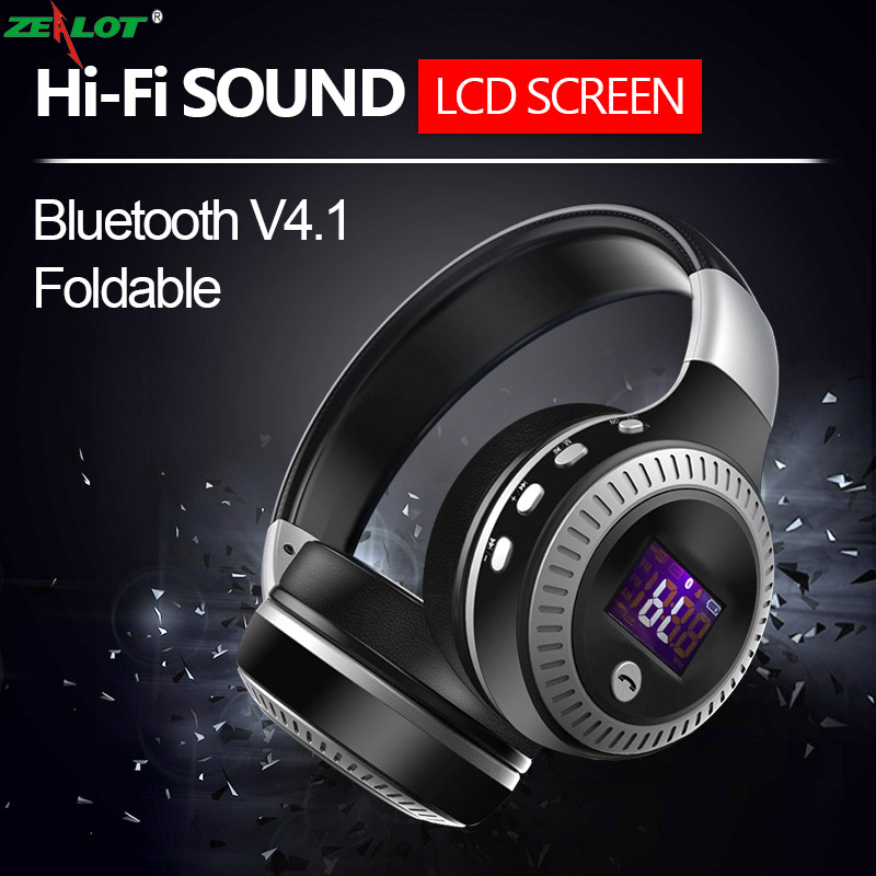 2017 Original ZEALOT B19 Bluetooth Headphone LCD Display HiFi Bass Stereo Wireless Headset with Mic,FM Radio,Micro-SD Card Slot zealot b20 hifi stereo bluetooth headphone super bass wireless headset handsfree with microphone for iphone samsung h