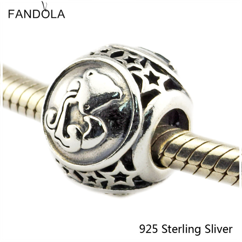 Aquarius Star Sign 925 Sterling Silver Charm Beads Fits For Pandora Bracelet Charms for DIY Fine Jewelry