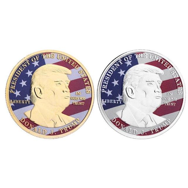 US $1 45 27% OFF|Trump Commemorative Coin Non currency Bitcoin Art  Collection Tourism Gifts Gold Plated Commemorative Coin Token Gift -in  Non-currency