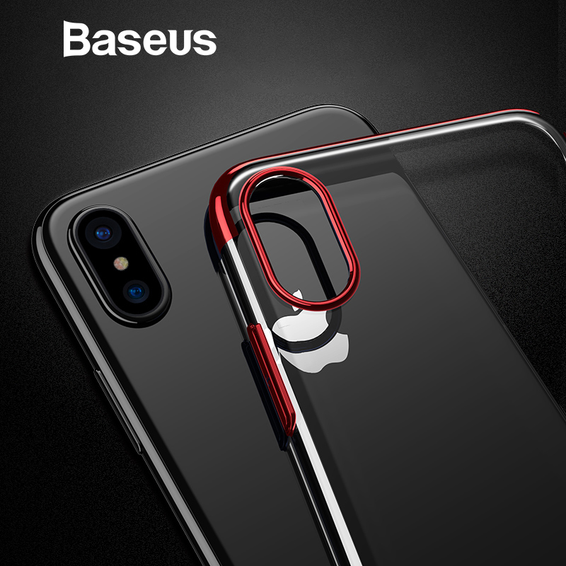 Baseus Hard PC Case For iPhone X Cases Luxury Transparent Plastic Case For iPhone X Cover Ultra Thin Plating Phone Accessories