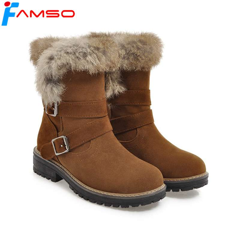 FAMSO Size34-43 2018 New Sexy Women Boots Shoes Buckle thick Heels Mid-Calf Riding Boots Winter Full Fur keep Warm Snow Boots стоимость