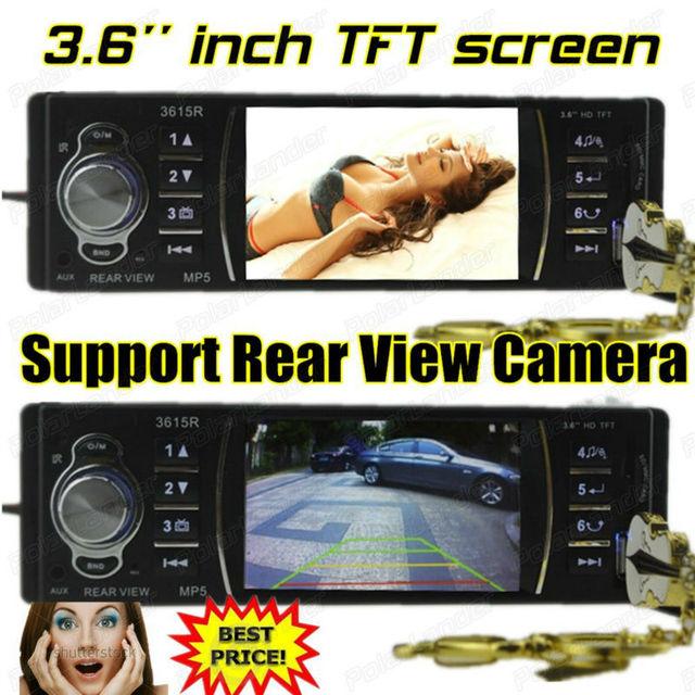 3.6 ''polegadas TFT HD tela Rádio do carro mp5, Apoiar câmara de vista traseira, câmera do USB, SD, aux em estéreo, fone de ouvido, 1 din in Dash car audio w/controle remoto