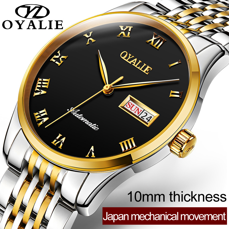 OYALIE Luxury Top Brand Men Mechanical Wristwatch Roman Numerals Gold Dial Business Male Clock Steel Belt Men Automatic Watches oyalie big face automatic watches male luxury gold dial men mechanical wristwatches top brand leather strap man s clocks watch