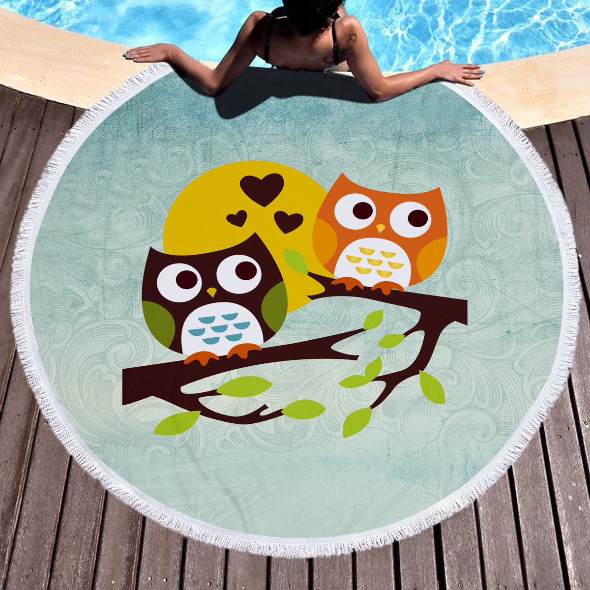 Tropical Island Owl Soft Quick Dry Water Absorb Leisure Large Round Beach Towel Microfiber Bath Towel Yoga Mat Toalha De Banho