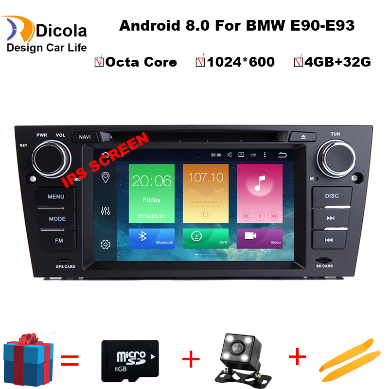 Android8.0/4G RAM/32G ROM/8Core/1Din For BMW E90/E91/E93 Fast Boot Car DVD Multimedia Player Autoradio HD Capacitive TouchScreen