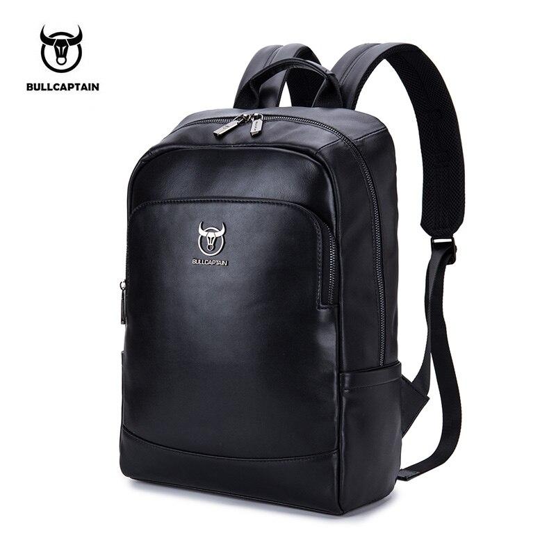 BULLCAPTAIN leather multi function men s computer backpack fashion simple men s travel bag men s